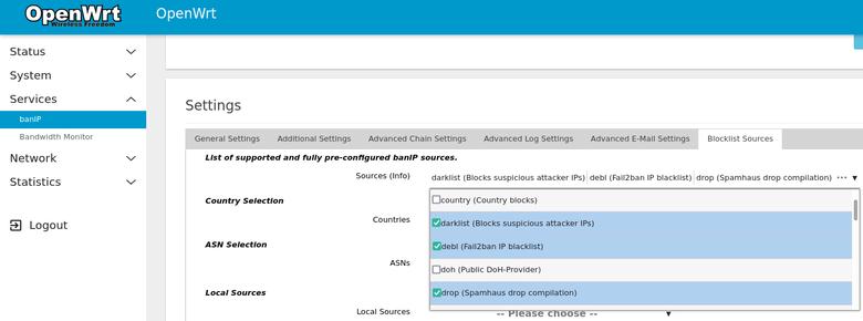 BanIP plugin page displaying blocklist settings.