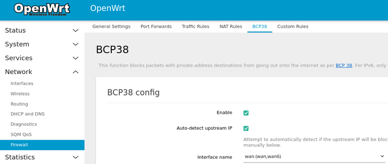 Image of BCP38 firewall settings with Enabled checked and the interface set to wan