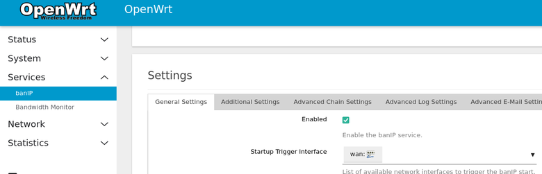 BanIP plugin page with the Enabled box checked.